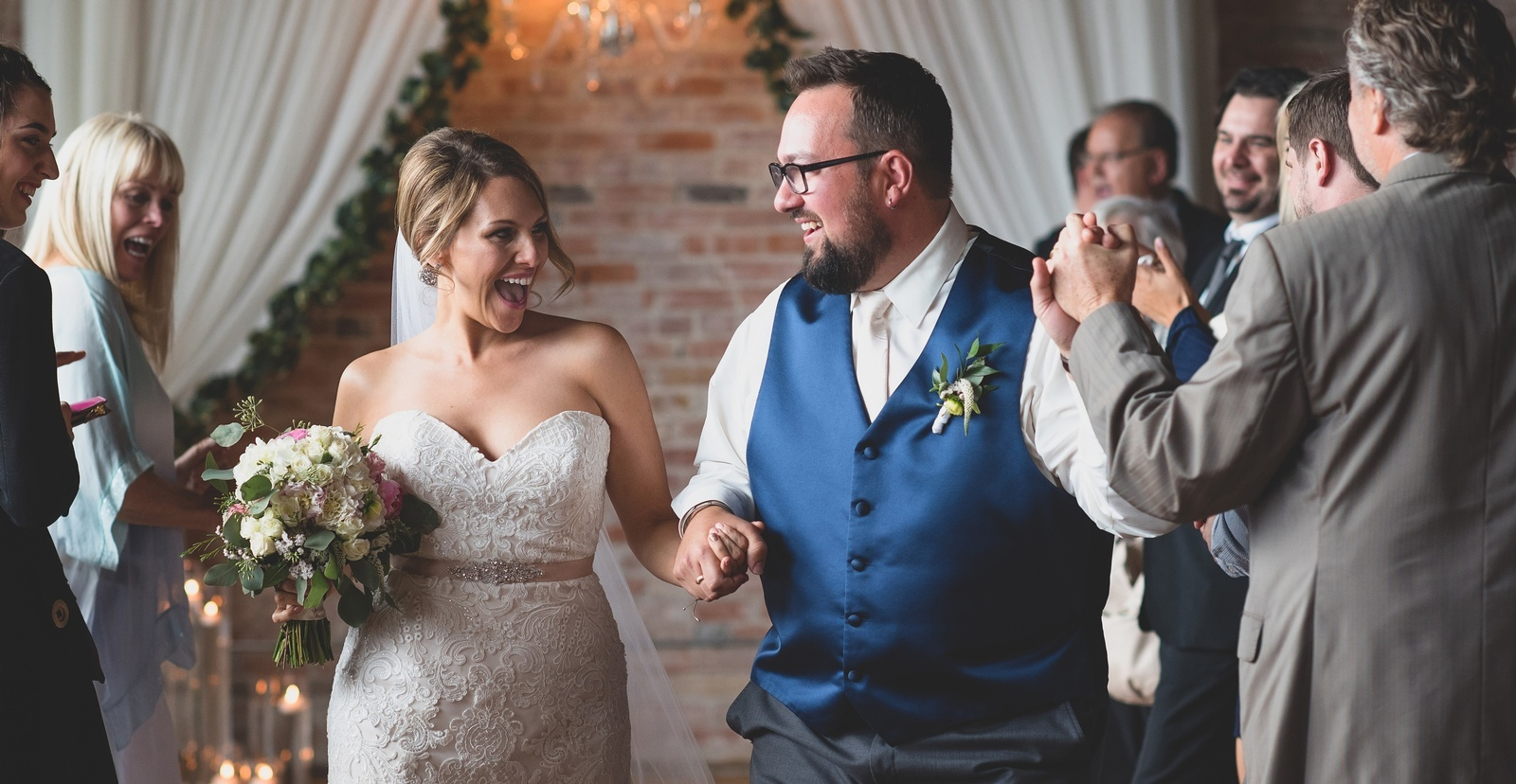 Couple Walking on aisle - Wedding Photography Stratford by Devon Crowell