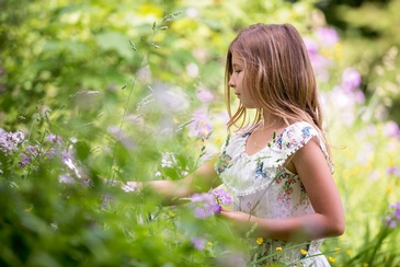 Young Girl Plucking Flowers in Garden - Family Photography Burlington by Devon Crowell