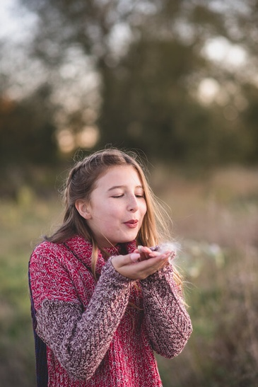 Girl Blowing Dandelion Flower - Outdoor Family Photography Cambridge by Devon Crowell